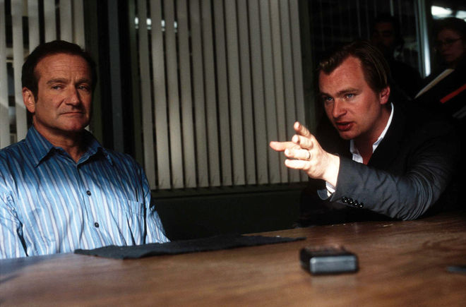 IMAGE: Robin Williams and Christopher Nolan shooting Insomnia