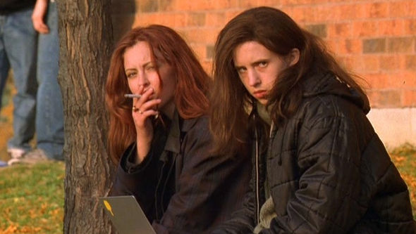 IMAGE: Brigitte and Ginger smoke outside
