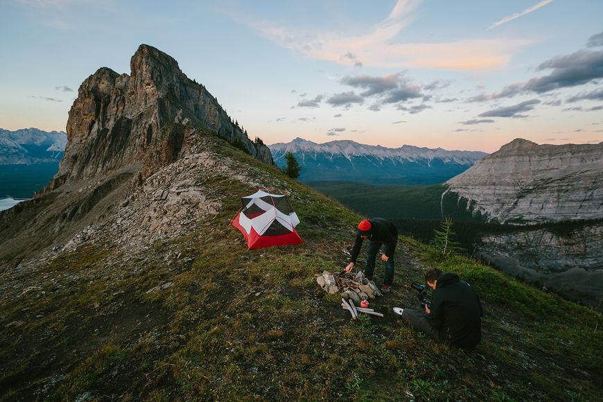 IMAGE: Photograph –tent and campfire setup