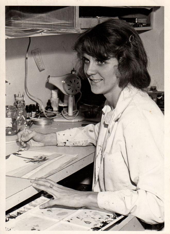 IMAGE: Photo of Sally Cruikshank at Snazelle Films, 1978