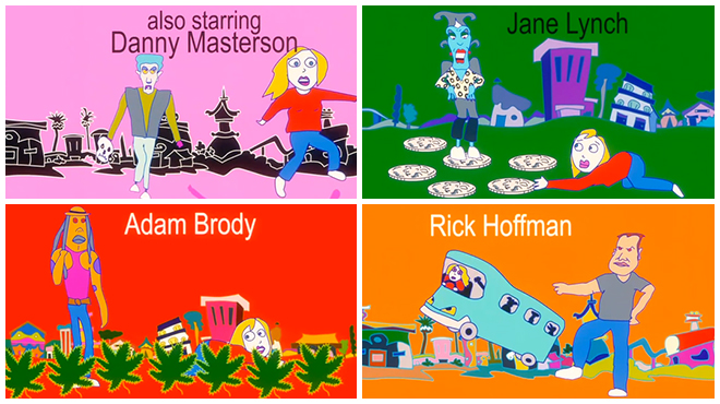 IMAGE: Actor caricatures from Smiley Face opening titles by Sally Cruikshank